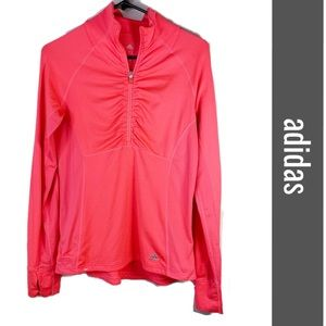 Adidas climate pink orange 1/4 zip pullover size S